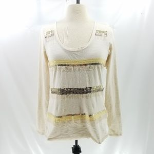 Lucky Brand M Top Boho Gold Sequin Beaded Burnout